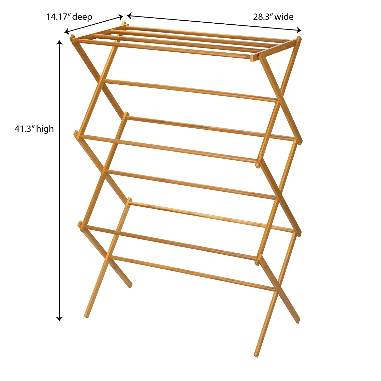 wooden clothes drying rack tall indoor folding bamboo dry laundry garment hanger 716987278812 ebay. Black Bedroom Furniture Sets. Home Design Ideas
