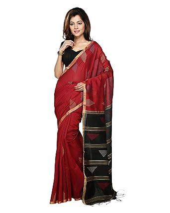 0d6b30023b4 Amazon.com: Bengal Handloom Saree Women's Silk Cotton Handwork Free Size  Red: Clothing