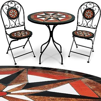 Deuba Ensemble Salon de Jardin - Table 2 chaises mosaïque - Jardin Salon  Terrasse - Ambiance Orientale