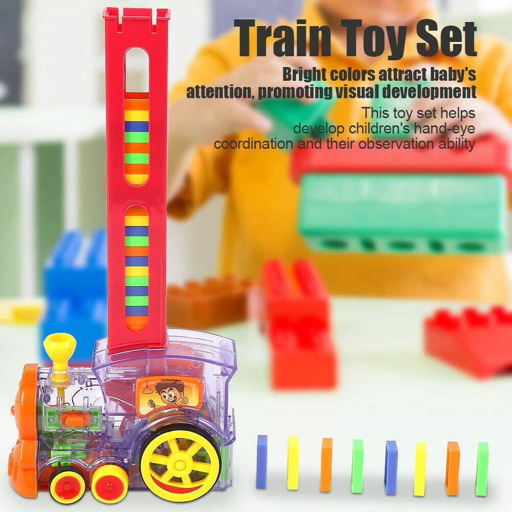 Weoto Domino Train Toy Set, Rally Electronic Train Model Toys with 80Pcs Domino Cards, Domino Car Puzzle Toys for Children Kids