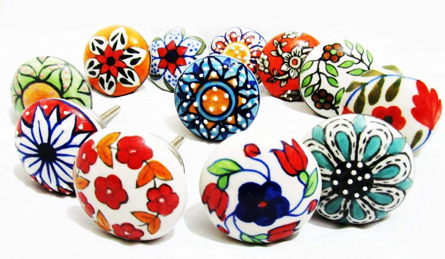 Artncraft 12 Pieces Set Dotted Ceramic Cabinet Colorful Knobs Furniture Handle Drawer Pulls (Design 2)