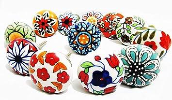 color rojo 12 pomos de cer/ámica pintados a mano para gabinetes o cajones de aspecto vintage con flores de cer/ámica
