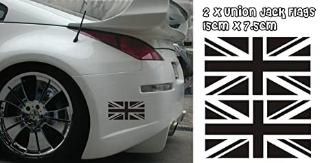 Pair Of Gb Union Jack Flags Car Vinyl Stickers Black