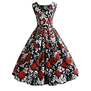 Women Evening Party Dress,Rakkiss Vintage Printing Bodycon Prom Swing Sleeveless Casual