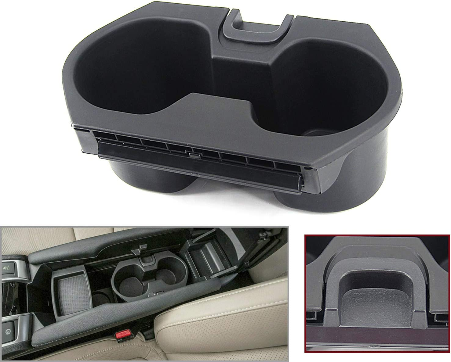 USTAR Console Cup Holder for Honda Civic 2016-2019 Drink Bottle Holder Adapter Replaces 83446-TBA-A01ZA