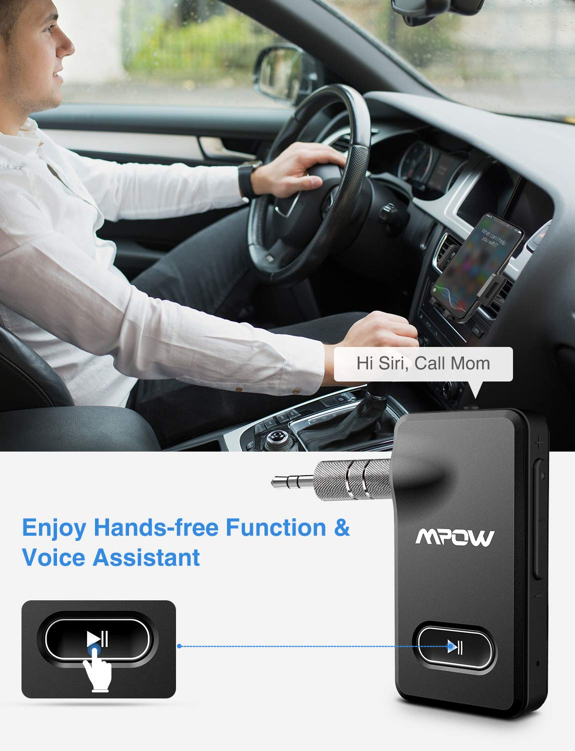 Mpow BH129 Bluetooth Receiver with CSR Chip for Better Music Quality,15 Hours Long Playing Time Bluetooth Adapter, Wireless Audio Car Kits with 1 Second Turn On/Off Button (Dual Link, Voice Assistant) by Mpow (Image #6)