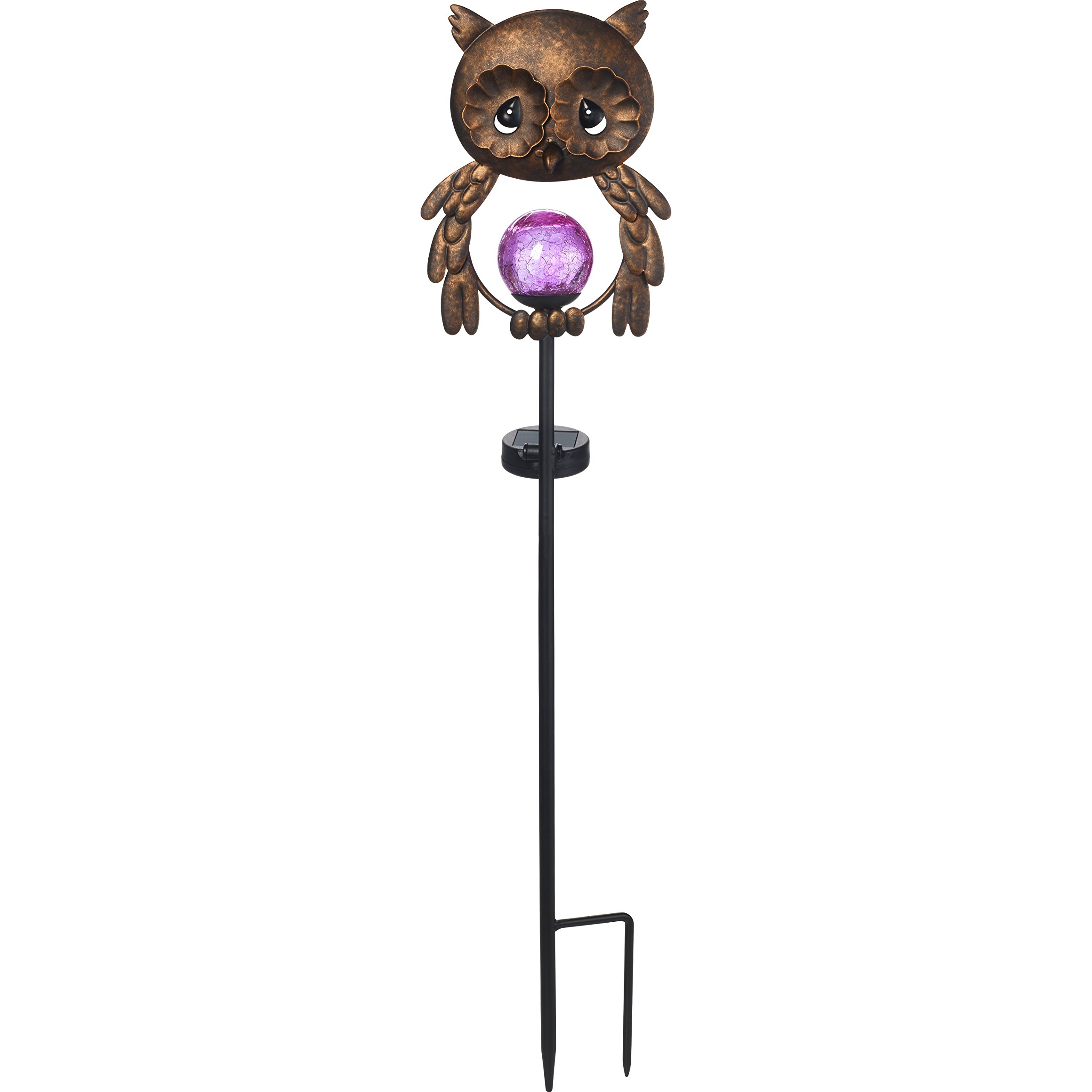Precious Moments Garden Gifts by 171443 Lighted Owl LED Solar Glass Globe Decorative Scrollwork Metal Garden Stake Yard Decor, Bronze, 26-inch High