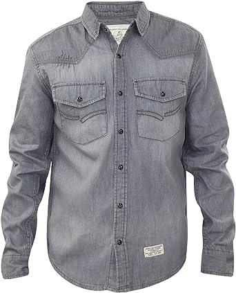 Jacksouth Hombre diseñador de Manga Larga Informal 100% algodón Denim Stud Camiseta