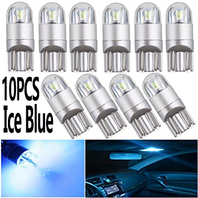 T10 W5W 194 LED Light Bulbs Ice Blue12V 3030 2SMD 921 168 LED Bulb Super Bright for Car Interior Exterior Lights Ice Blue Map Door Trunk Backup Tail Lights License Plate lamp (Pack of 10,2SMD): Automotive