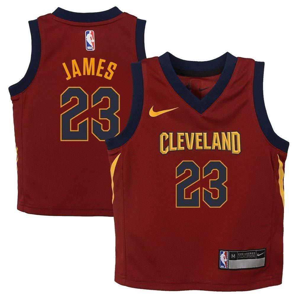 36fc49b9a Amazon.com: Nike Lebron James Cleveland Cavaliers NBA Kids 4-7 Burgundy  Road Icon Replica Jersey (Kids 4): Clothing