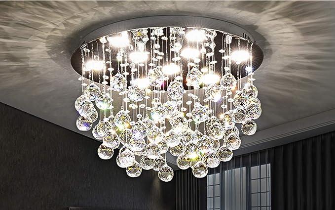 new concept 4f029 411fe Saint Mossi Modern K9 Crystal Chandelier Lighting Flush Mount LED Ceiling  Light Fixture Pendant Chandelier for Livingroom 9 GU10 Bulbs Required Width  ...