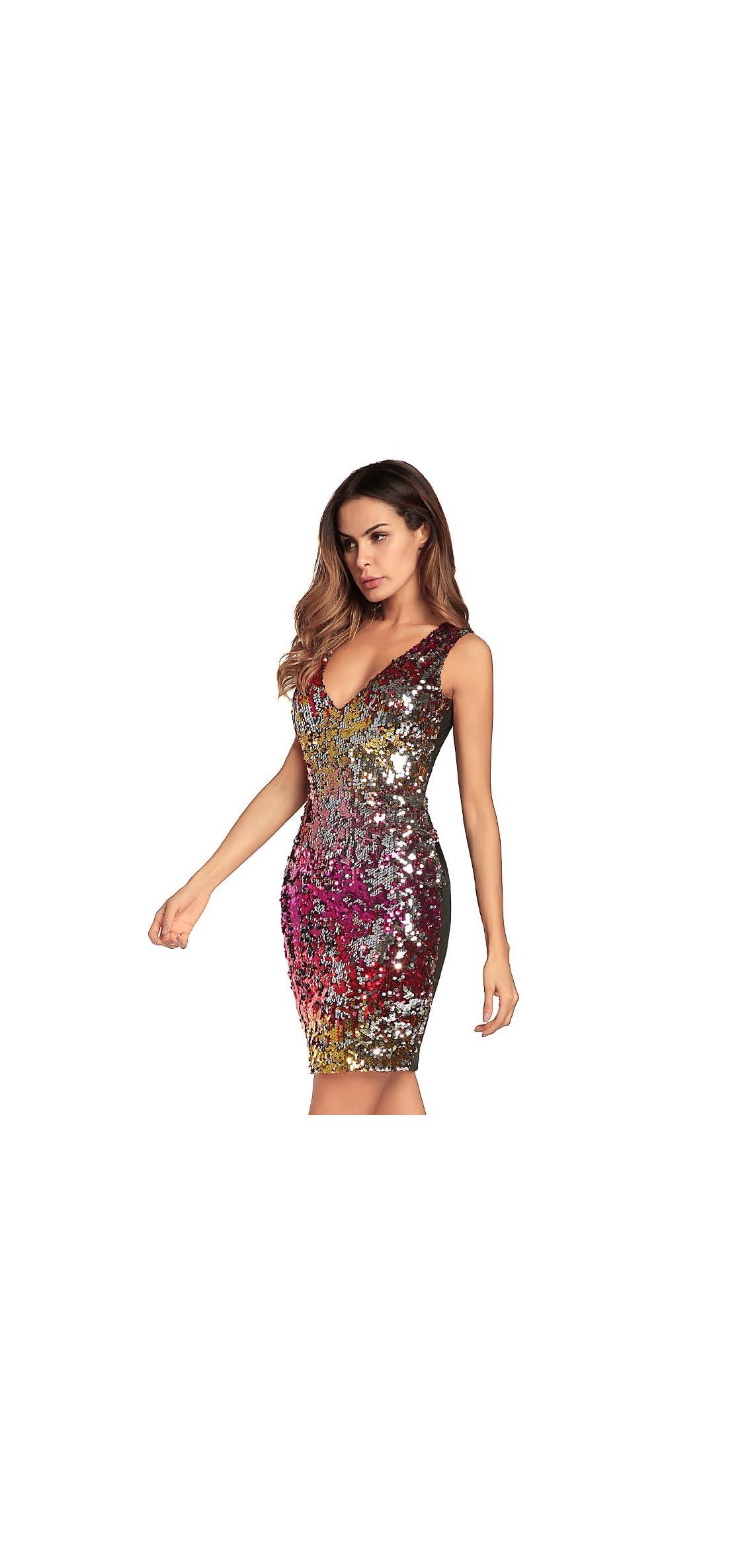 Women Sexy V-neck Bodycon Dress Sparkly Sequin Cocktail