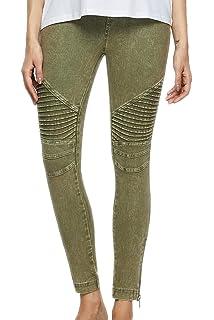 2b39514ea7b737 SENSERISE Womens Skinny Stretch Pleated Ankle Zipper Pencil Moto Pants  Jeggings