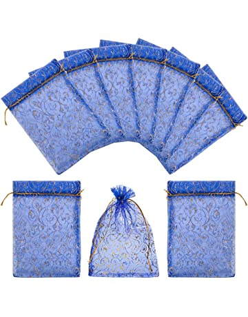 DELSEN Lot de 100 grands sacs en organza avec cordon de serrage en satin 10 x 15 cm utilisables comme pochettes /à bonbons pochettes /à bijoux pochettes cadeaux de mariage ou de No/ël Blanc
