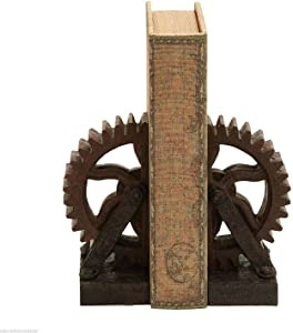 CUORE BANGKOK Industrial Gear Bookends Metal Look Rustic Antique Steampunk Chic Decor Set of 2