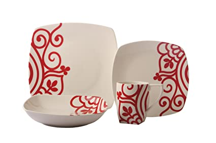 Coventry Valley Swirls Red 16-Piece Dinnerware Set Service for 4 Red  sc 1 st  Amazon.com & Amazon.com | Coventry Valley Swirls Red 16-Piece Dinnerware Set ...