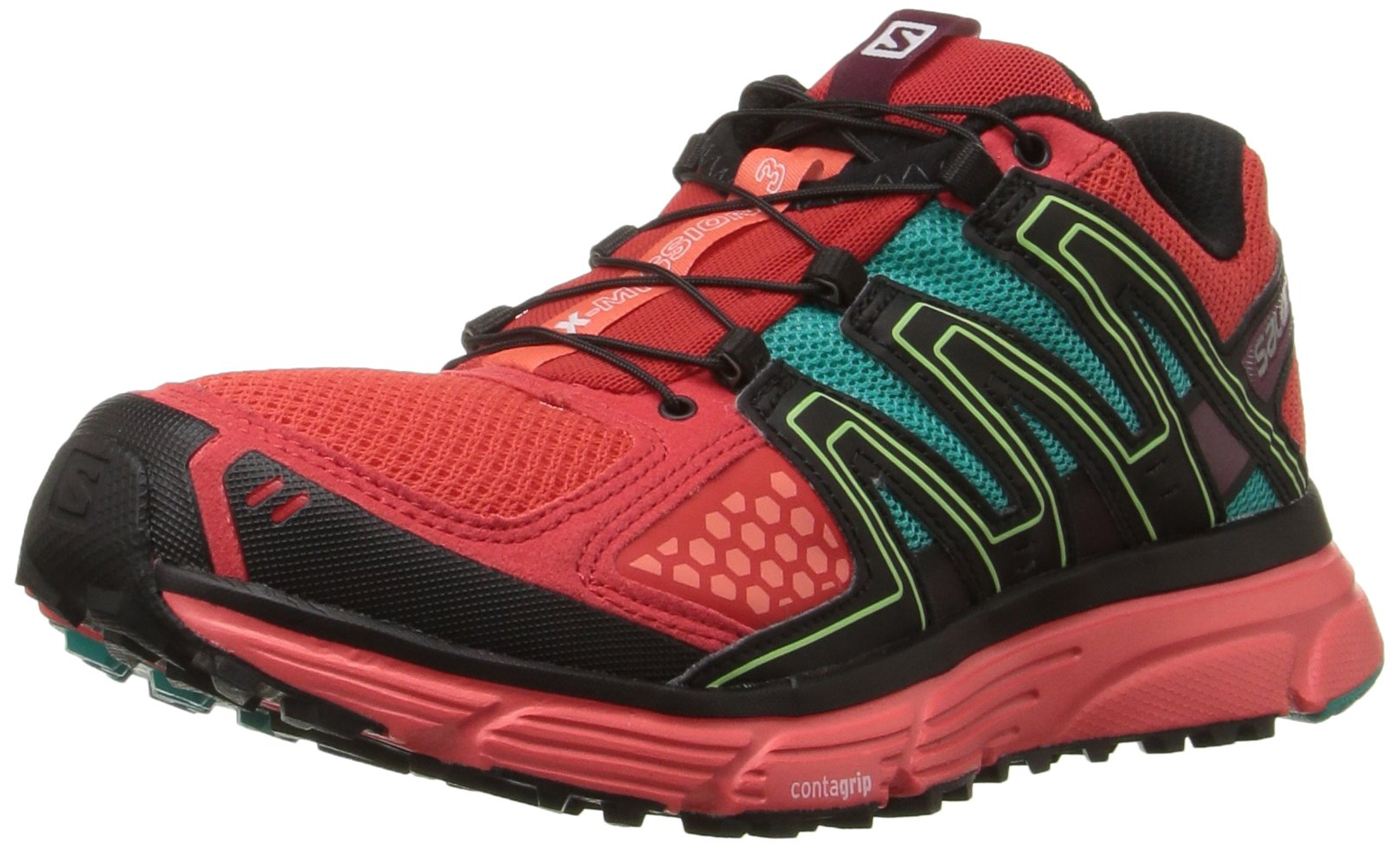 Salomon Women's X-Mission 3 W Trail Runner, Infrared/Coral Punch/Teal Blue Fabric, 5 B US by Salomon