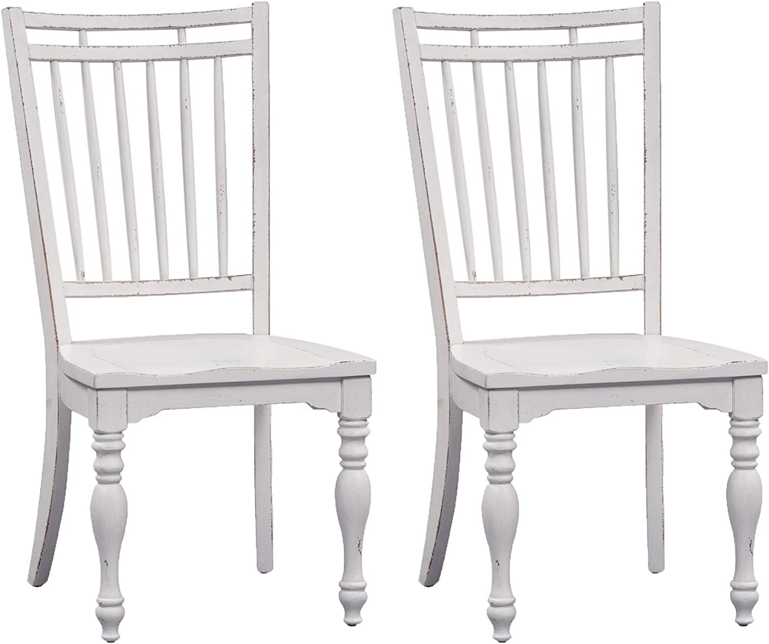 Liberty Furniture Industries Magnolia Manor Spindle Back Side Chair (RTA) (Set of 2), White