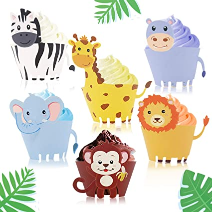 Amazon.com: Envoltorio para cupcakes con diseño de animales ...
