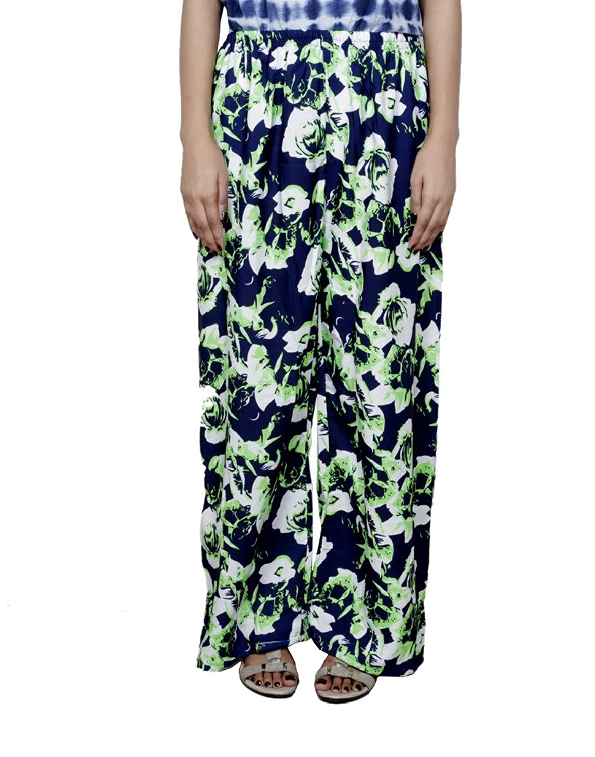 Indistar Women's Polyester Blue and Green Palazoo Pants_Free Size