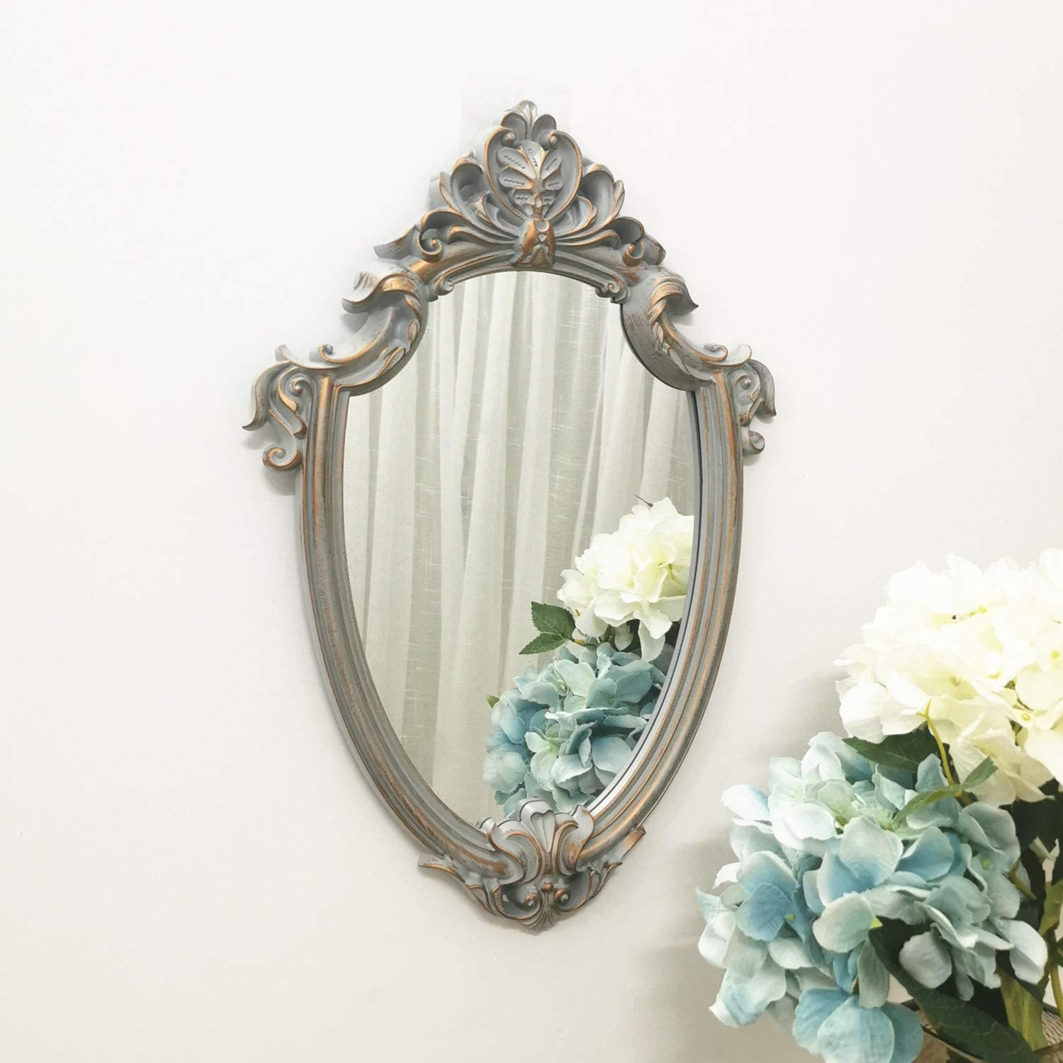 Yash Decorative Wall Mirror, Vintage Hanging Mirrors for Bedroom Living-Room Decor, Golden Gray