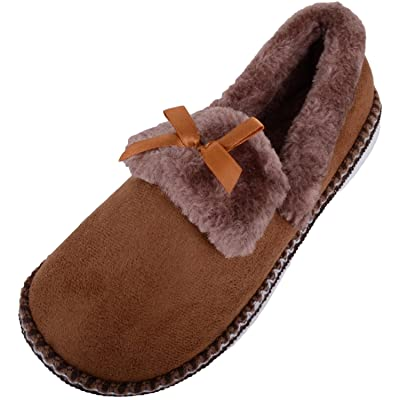 ABSOLUTE FOOTWEAR Womens Soft Fleece Slippers/Indoor Shoes with Faux Fur Inners