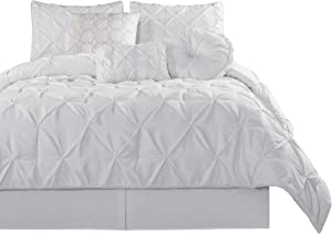 Chezmoi Collection Sydney 7-Piece Pinch Pleat Pintuck Bedding Comforter Set (Queen, White)