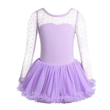 YiZYiF Vestido Tutú Danza de Algodón para Niñas Maillot de Ballet con Falda Leotardo Manga Larga Transparente Traje Bailarina Actuación 3-10 Años