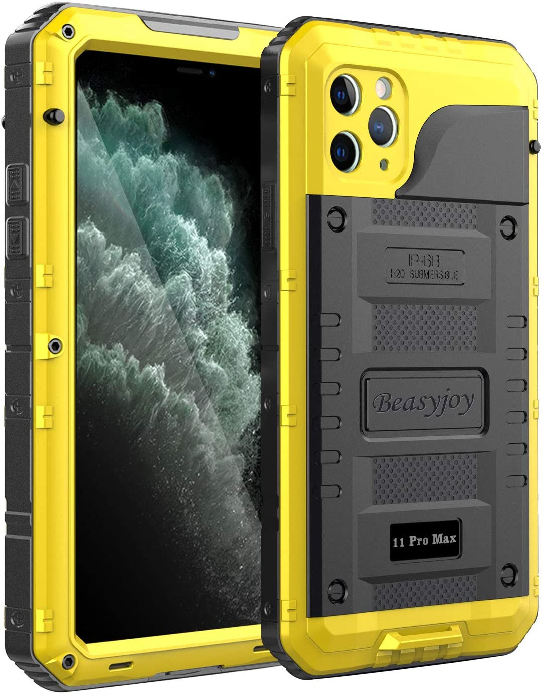 Beasyjoy iPhone 11 Pro Max Case Waterproof Metal Case Heavy Duty Built-in Screen Full Body Protective Shockproof Military Grade Yellow