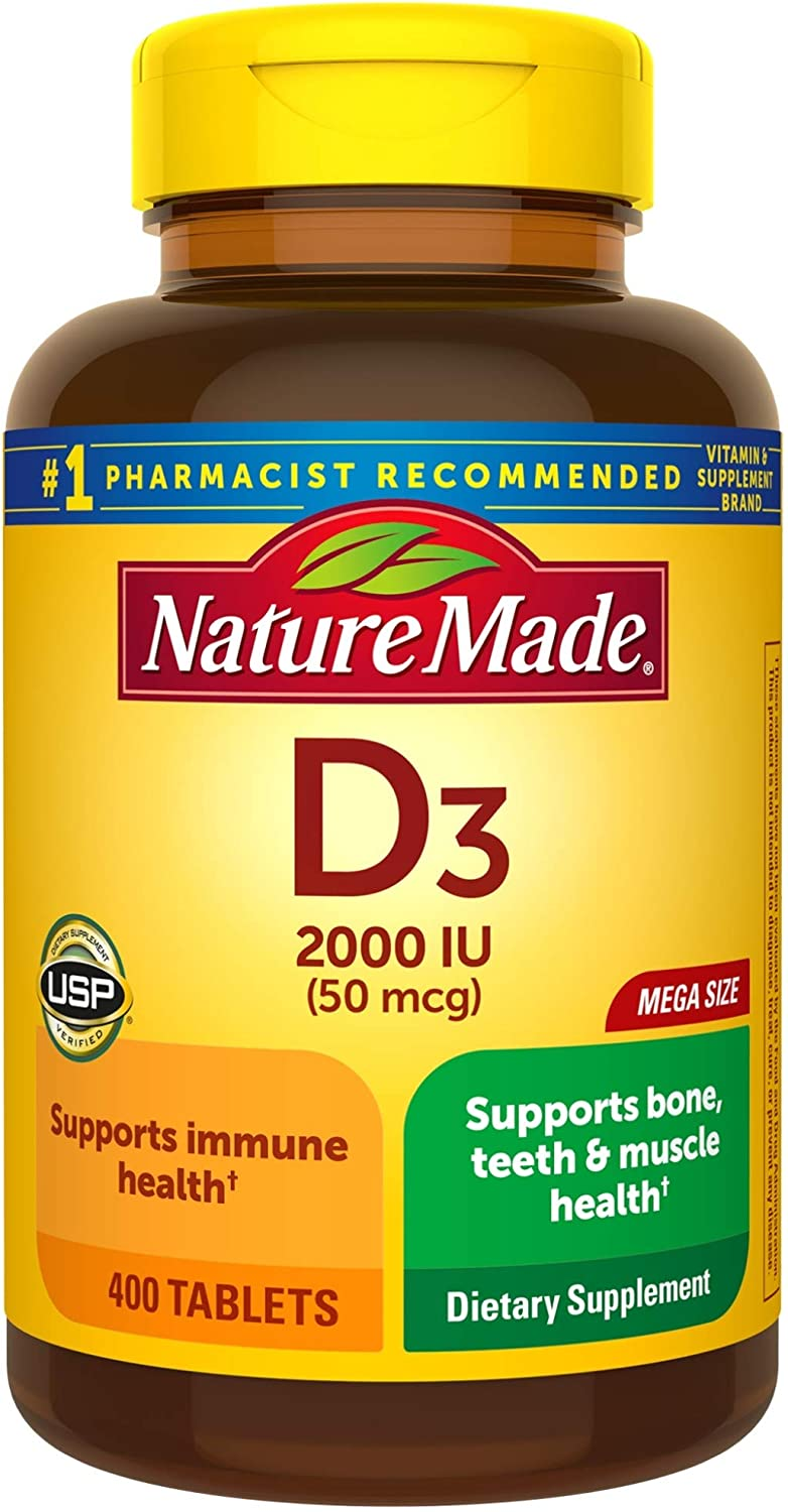 Nature Made Vitamin D3, 400 Tablets Mega Size, Vitamin D 2000 IU (50 mcg) Helps Support Immune Health, Strong Bones and Teeth, & Muscle Function, 250% of Daily Value for Vitamin D in One Daily Tablet: Health & Personal Care