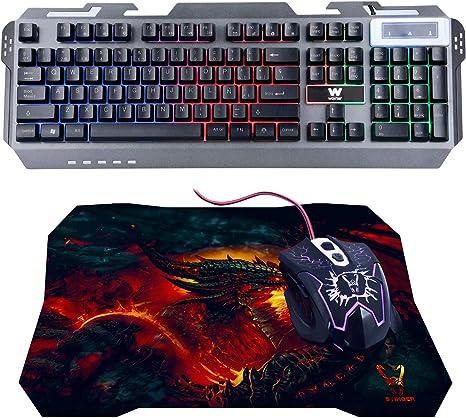 Woxter Stinger FX 80 Kit - Kit de accesorios gaming con teclado retroiluminado con base metálica,ratón óptico con resolución ajustable(800/1200/1600/2000 DPI) y alfombrilla de microfibra 25x21: Amazon.es: Informática
