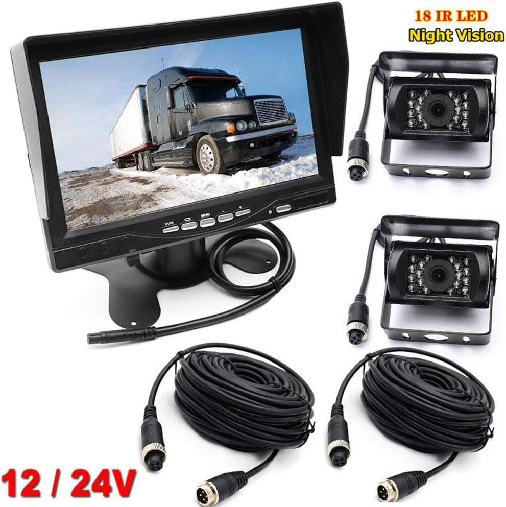 Sistema de visión Trasera de 4 Pines de 12 V-24 V con Soporte para Parasol y Pantalla LCD HD TFT de 7 Pulgadas + 2 cámaras de visión Nocturna IR de 18 ledes para RV/autobus/Remolque/camión