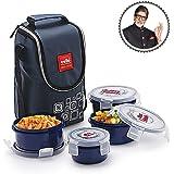 Cello Max Fresh Click Polypropylene Lunch Box Set, 300ml, 4-Pieces, Blue