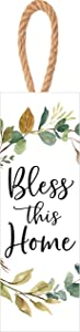P. Graham Dunn Bless This Home Leaf Green 10 x 4 Solid Pine Wood Decorative String Sign