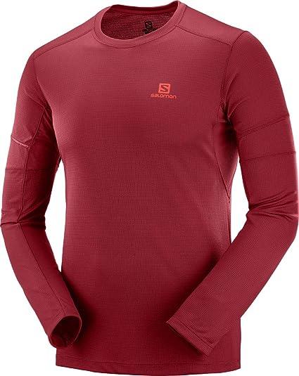 Salomon Herren Agile LS Tee Langarm Sportshirt, Rot (Biking
