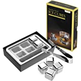 Kollea Stainless Steel Chilling Cubes Reusable Ice Cube Whiskey Stones for Drinks with Ice Tongs and Freezer Storage…