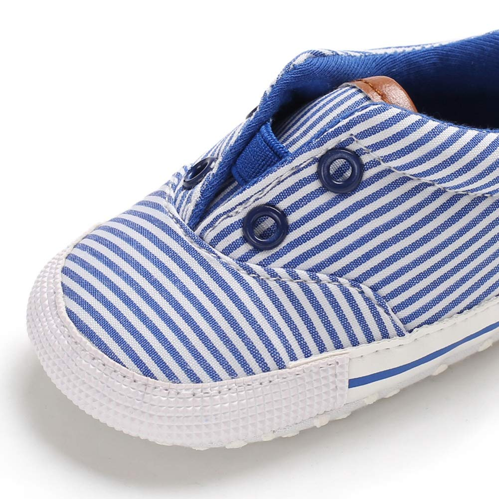 Kidoll Baby Boy Stripe Print Anti-Slip Shoes Casual Sneakers Walking Shoe Soft Soled First Walkers