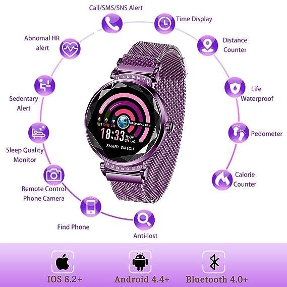 Fitness Tracker pour Femme H2 Montre Connectée Bracelet Connecté Podomètre Cardio Moniteur de Sommeil Fréquence Cardiaque Pression Artérielle Écran IP67 ...