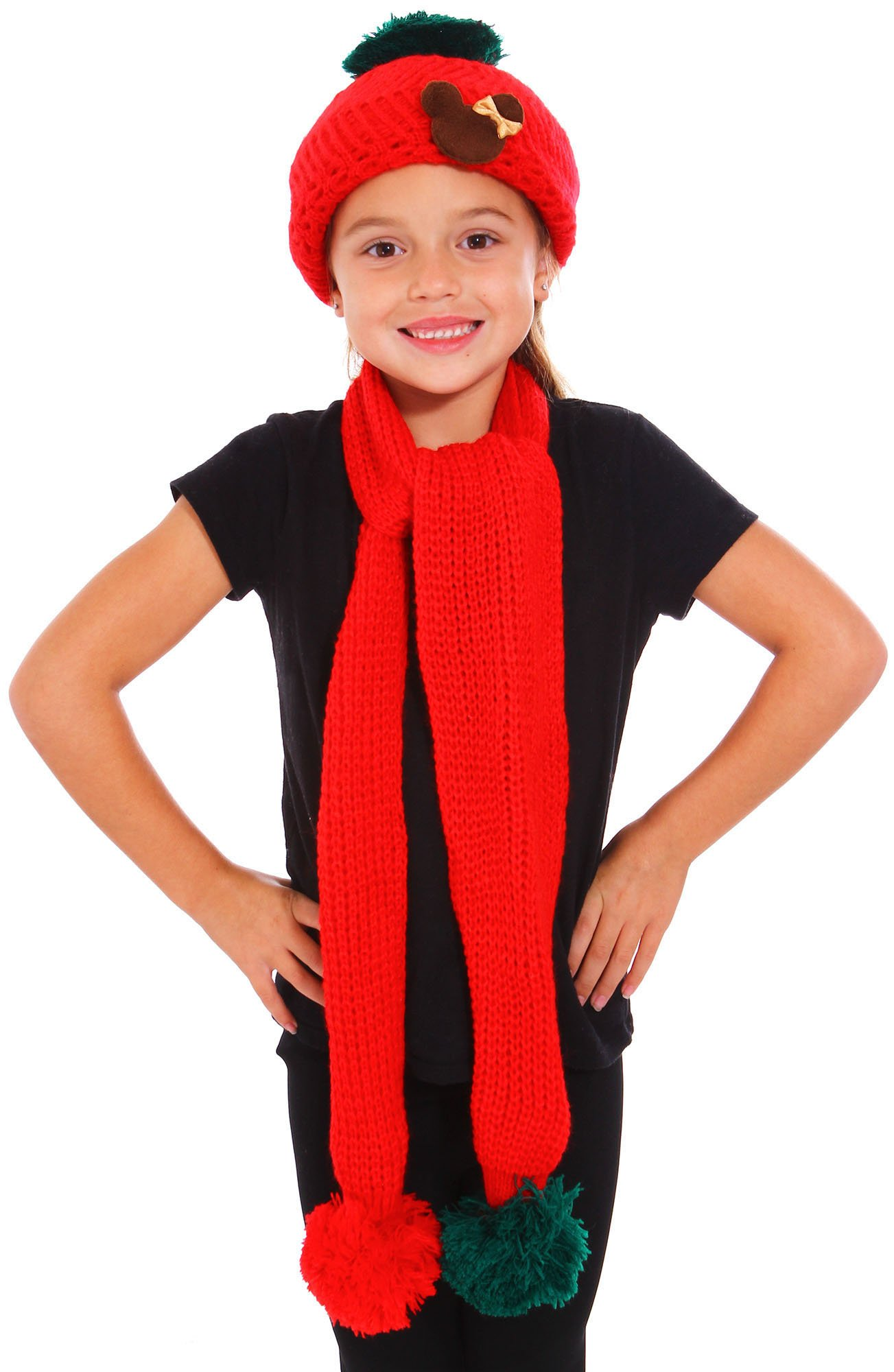 Simplicity Kids Hat Knitted Crochet 2 Pieces Beanie Cap Scarf Set, Red