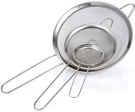Feinmaschig Küchensieb Passiersieb Edelstahl Backsieb Obst Reis Waschsieb