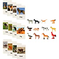 TOYANDONA Animal Matching Game Flash Cards Miniature Poultry Animals with Matching Cards Montessori Language Materials…