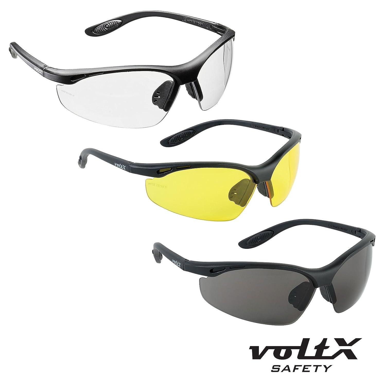 3 x voltX 'Constructor' BIFOKALE Schutzbrille mit Lesehilfe (+2.0 Dioptrie klare, gelbe & rauchgraue Scheibe) CE EN166f zertifiziert / Sportbrille für Radler – anpassungsfähiges Styling - enthält Sicherheitsband mit headstop