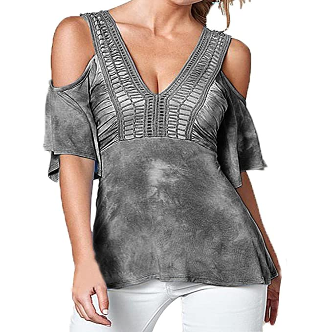 Camisetas,LANDFOX Mujeres Verano Imprimir hueco camiseta cuello camiseta blusa (S, Gris)