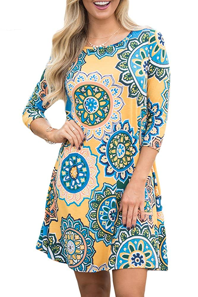 500 Vintage Style Dresses for Sale For G and PL Women 3/4 Sleeve Floral Print T Shirt Dress with Pocket  AT vintagedancer.com