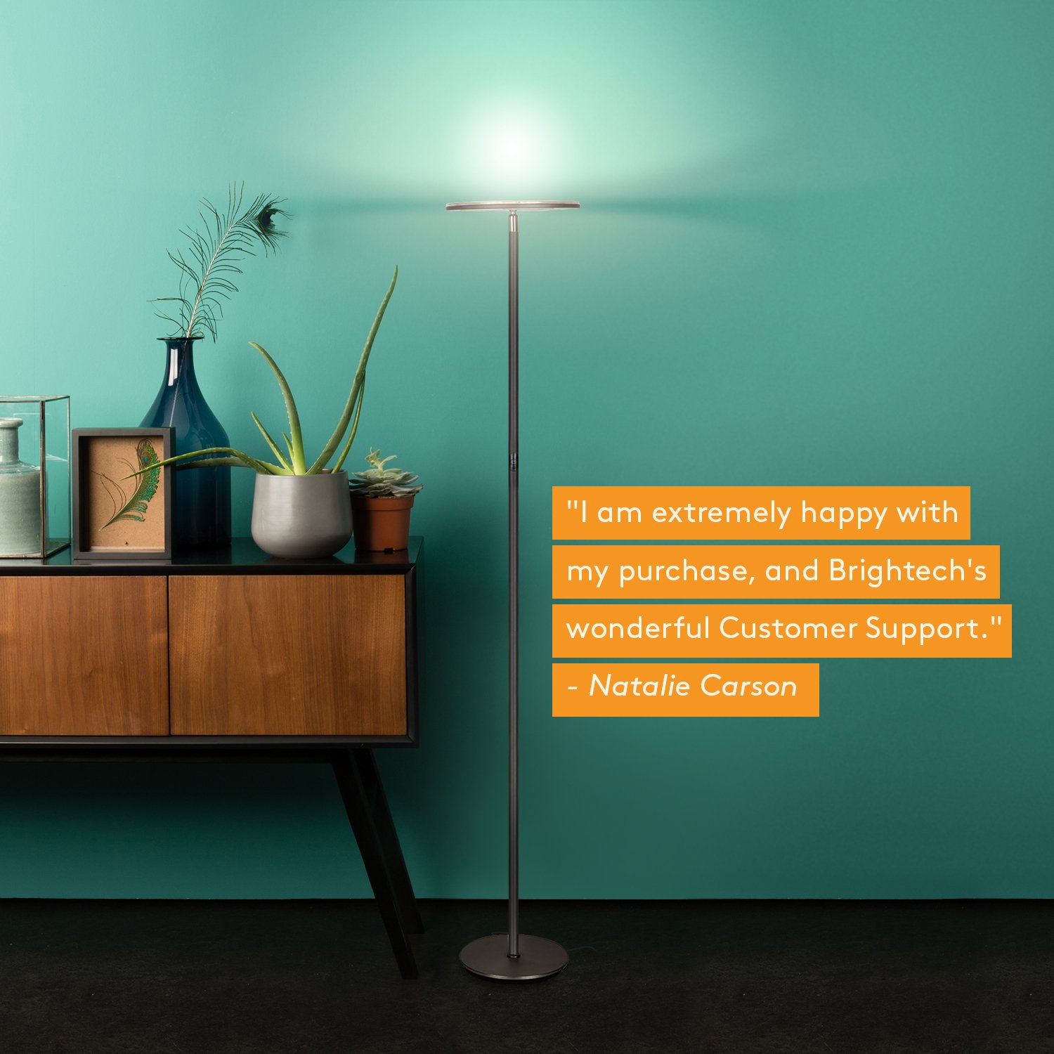 Brightech Sky LED Torchiere Super Bright Floor Lamp - Tall Standing Modern Pole Light for Living Rooms & Offices - Dimmable Uplight for Reading Books in Your Bedroom etc - Dark Bronze by Brightech (Image #9)