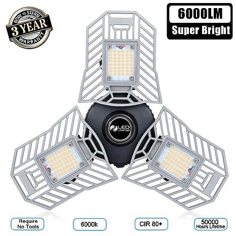 Amazon.com: Guirnalda Luz 6000 Lm Deformable LED Garaje ...