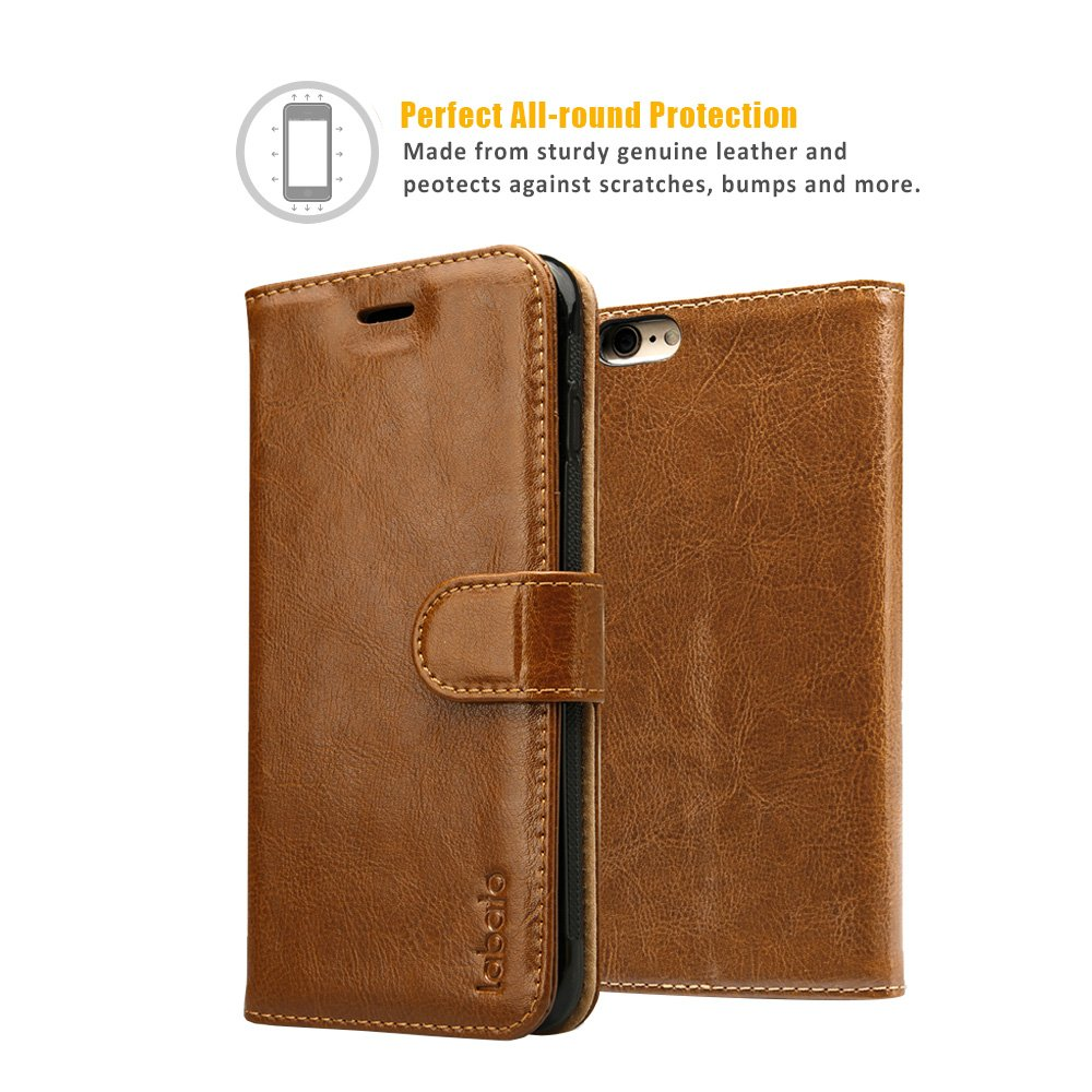 iPhone 6S Plus Wallet Case, Labato Genuine Leather Folio Flip Case Cover Magnetic Stand Function with Card Slots/Cash Compartment for Apple iPhone 6 Plus/ 6S Plus 5.5''- Brown (lbt-I6U-05Z20) by Labato (Image #5)