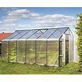 Gampre Aluminium Gewächshaus-Set, Gartenhaus, Pflanzenhaus Sanus L10 silber//220x430x215 cm//Frühbeet, Aufzucht und Treibhaus