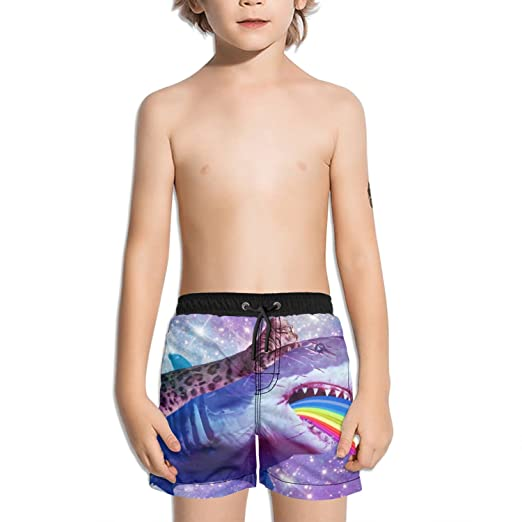 3ddad02db4 Image Unavailable. Image not available for. Color: Trum Namii Boy's Quick  Dry Swim Trunks Galaxy Shark Cat Rainbow Shorts