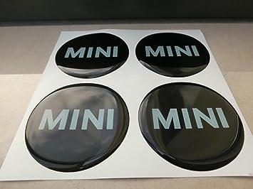 Juego de 4 pegatinas 3M con la insignia de Mini Cooper, 50 mm, color negro, tunning, efecto 3D, resinadas, para tapacubos de aleación